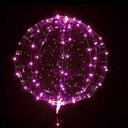 18″ Διάφανο μπαλόνι φωτιζόμενο ροζ LED