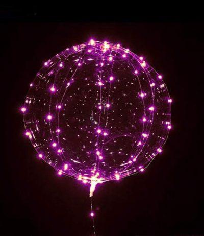 """18"""" Διάφανο μπαλόνι φωτιζόμενο ροζ LED"""