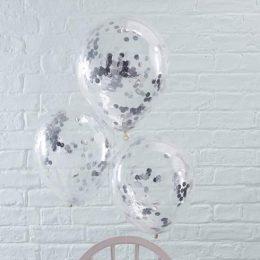 Διάφανο μπαλόνι με Aσημί κονφετί (3 μεγέθη)