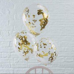 Διάφανο μπαλόνι με  μικρό Χρυσό κονφετί ( 3 μεγέθη)