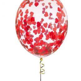 Διάφανο μπαλόνι με Kόκκινες Kαρδιές κονφετί (3 μεγέθη)