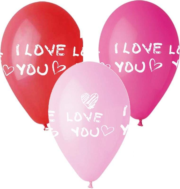 """12"""" Μπαλόνι τυπωμένο I Love You (3 χρωμ.)"""