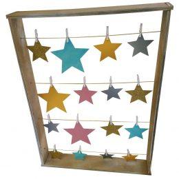 Ξύλινο Καδράκι για ευχές με αστεράκια & μανταλάκια