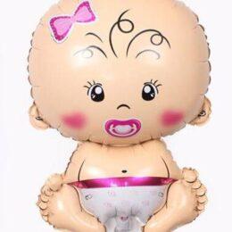 Ετοιμη κάθετη στήλη μπαλονιών για νεογέννητο κοριτσάκι