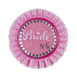 Παράσημο Ροζ με δαντέλα 'Bride to be'