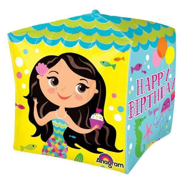 Μπαλόνι 3D κύβος Happy Birthday Γοργόνα 38 εκ