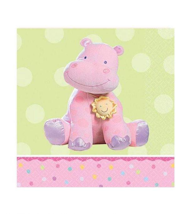 Χαρτοπετσέτες μικρές με ροζ Ιπποπόταμο (16 τεμ)