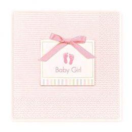 Ροζ μικρές χαρτοπετσέτες Baby Girl (16 τεμ)