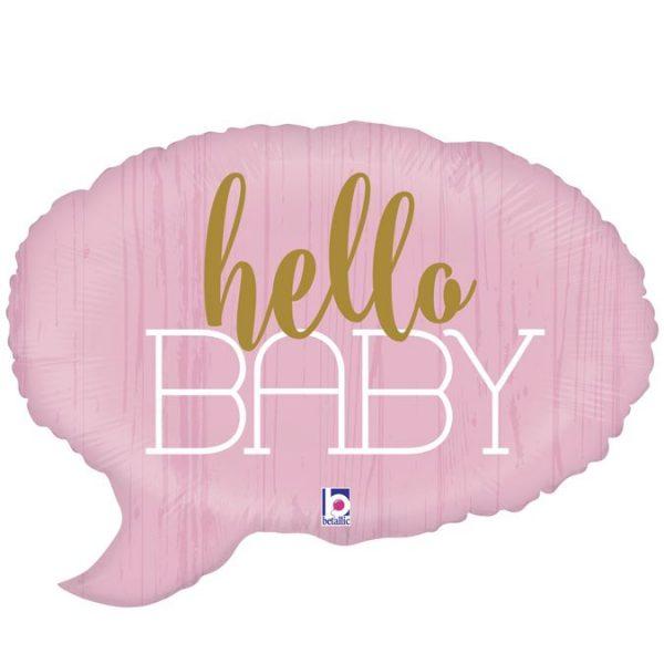Μπαλόνι γέννησης Hello baby ροζ 61 εκ