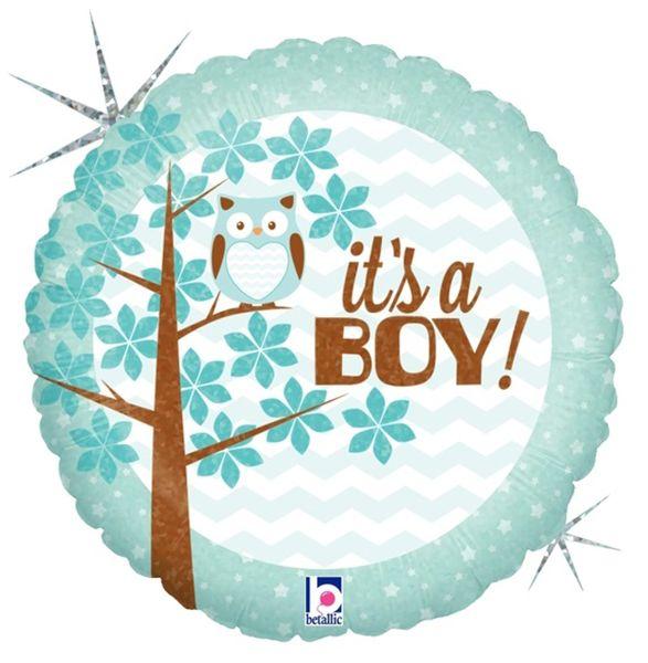 Μπαλόνι γέννησης Boy κουκουβάγια στρογγυλό 45 εκ