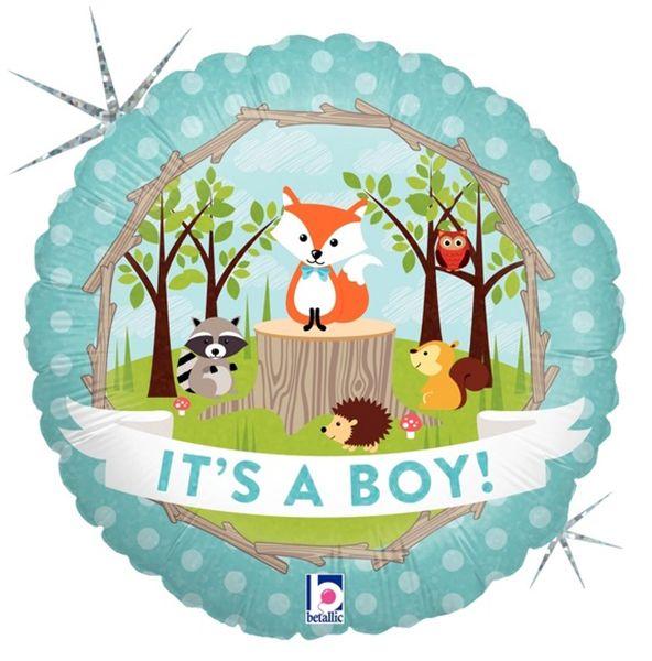 Μπαλόνι γέννησης Δάσος Baby Boy που ιριδίζει