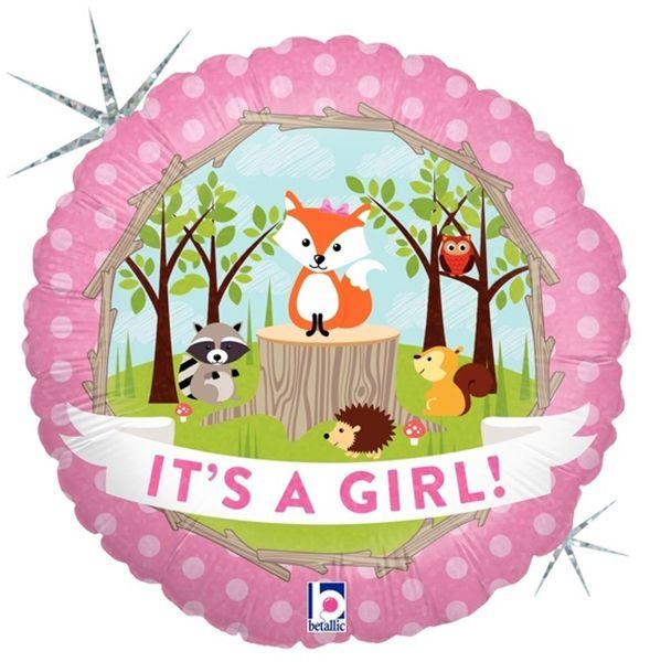 Μπαλόνι γέννησης Δάσος Baby Girl που ιριδίζει