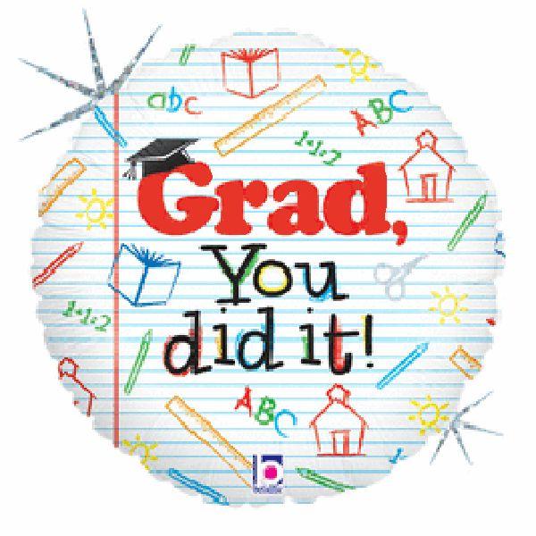 """Μπαλόνι για αποφοίτηση """"Grad you did it"""" 45 εκ"""