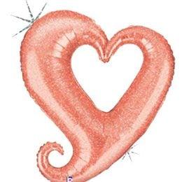 Μπαλόνι Καρδιά ροζ-χρυσό που ιριδίζει 94 εκ