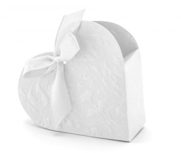 Λευκά κουτάκια Καρδιά με κορδέλα (10 τεμ)