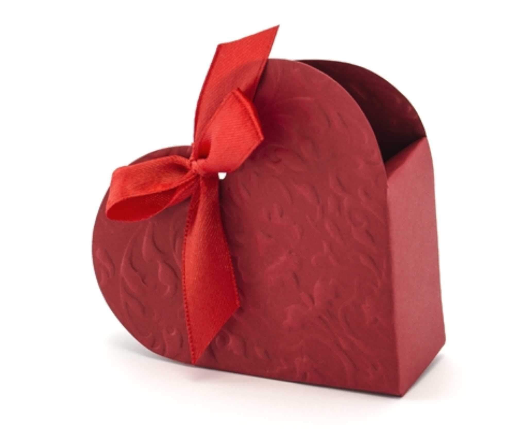 Κόκκινα κουτάκια Καρδιά με κορδέλα (10 τεμ)