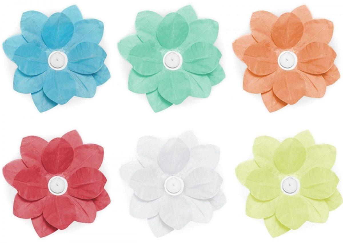 Φαναράκια λουλούδια που επιπλέουν (6 τεμ)