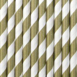 Καλαμάκια χάρτινα ριγέ χρυσά- άσπρα (10 τεμ)