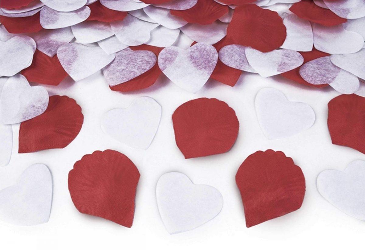 Κανονάκι με λευκό-κόκκινο κονφετί Ροδοπέταλα & Καρδιές