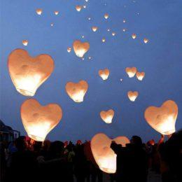 Χάρτινο Ιπτάμενο Φαναράκι σε σχήμα καρδιάς