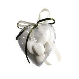 Διάφανη πλαστική θήκη σε σχήμα καρδιάς (3 τεμ)
