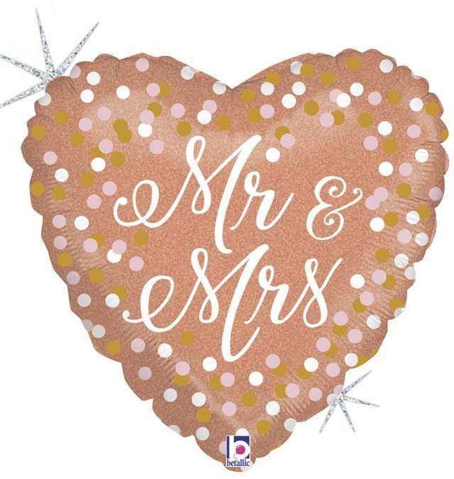 Μπαλόνι Καρδιά ροζ-χρυσή Mr & Mrs 45 εκ