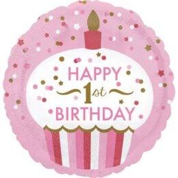 Μπαλόνι 1st Birthday Girl Cupcake 45 εκ