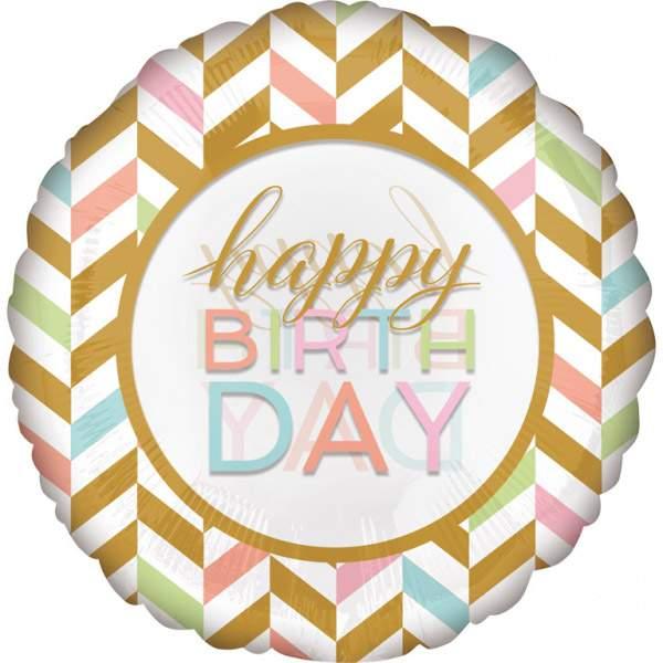 Μπαλόνι γενεθλίων Happy Birthday παστέλ χρώματα