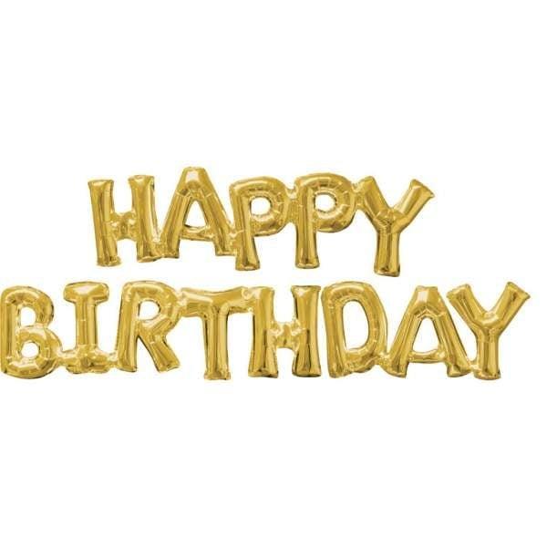 """Μπαλόνι γενεθλίων """"Happy Birthday"""" Χρυσό (2 τεμ)"""