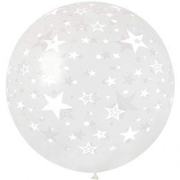 """30"""" μπαλόνι τυπωμένο Αστεράκια διάφανο"""