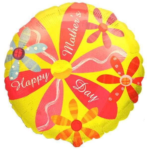Μπαλόνι στρογγυλό με λουλουδάκια ''Happy Mother's Day''