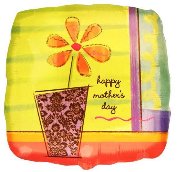 Μπαλόνι τετράγωνο με λουλούδι ''Happy Mother's Day''
