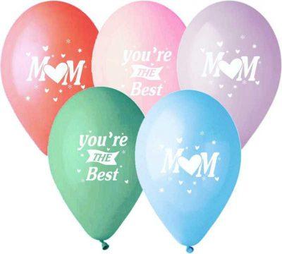 """12″ Μπαλόνι τυπωμένο """"Βest Mum"""" σε 5 χρώματα"""