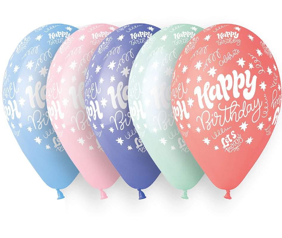 """12"""" Μπαλόνι Happy Birthday Lets Party 5 χρώματα"""