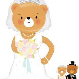Μπαλόνι αρκουδάκι Νύφη με χεράκι για να πιάνει το γαμπρό