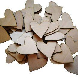 Ξύλινες διακοσμητικές καρδούλες (50 τεμ)