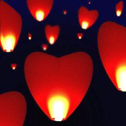Χάρτινο Ιπτάμενο Φαναράκι σε σχήμα καρδιάς κόκκινο