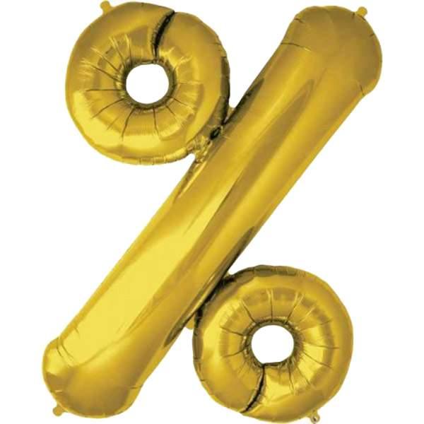 Μπαλόνι Χρυσό συμβολο '%' για Βιτρίνα (3 τεμ)