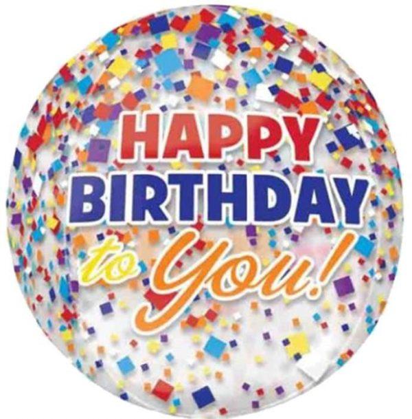 Μπαλόνι Happy Birthday to you κονφετί ORBZ 40 εκ