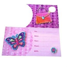Προσκλητήρια πάρτυ Glamour girl με 3D πεταλούδα (8 τεμ)