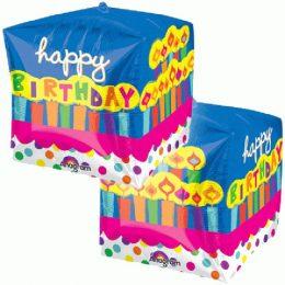 Μπαλόνι γενεθλίων τρισδιάστατος κύβος 'Happy Birthday'' Τούρτα