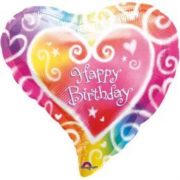 Μπαλόνι Καρδιά για γενέθλια 'Happy Birthday' Ακουαρέλα