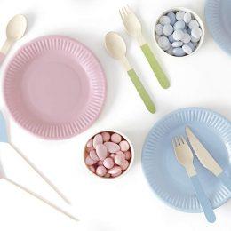 Πιάτα πάρτυ μικρά σε 3 παστέλ χρώματα (6 τεμ)