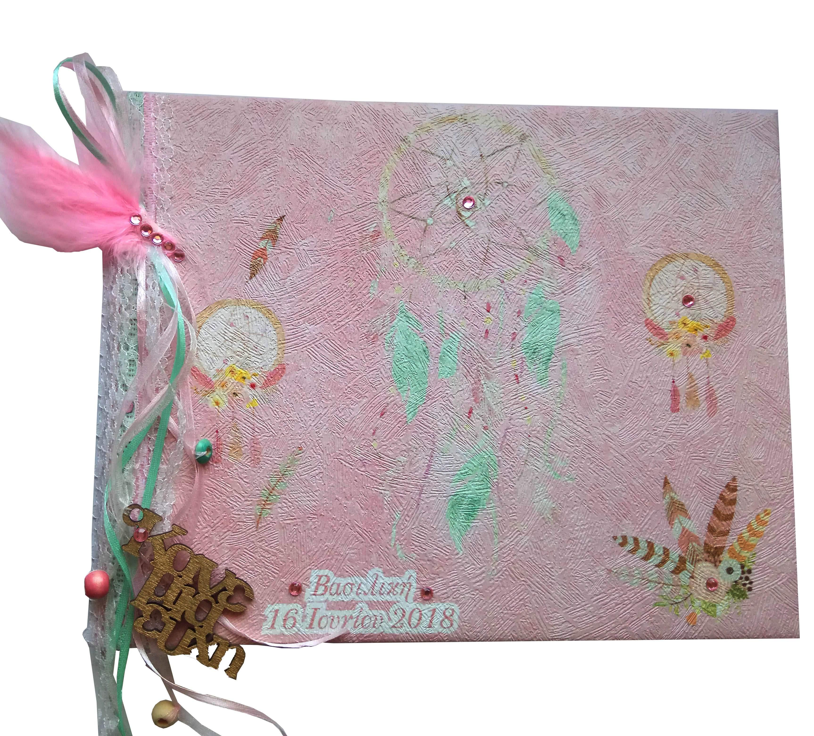 Βιβλίο Ευχών Ονειροπαγίδα ροζ- βεραμάν