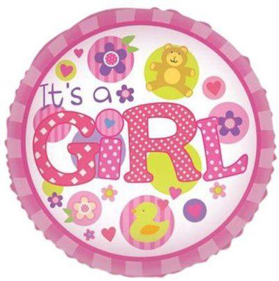 Μπαλόνι γέννησης Girl αρκουδάκι παπάκι 45 εκ