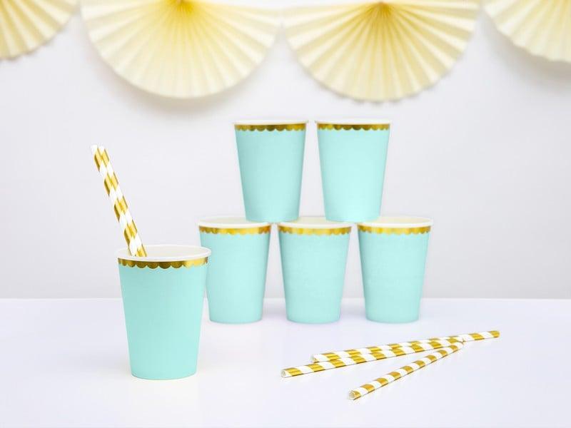 Ποτήρια πάρτυ γαλάζιο μέντας με χρυσό (6 τεμ)