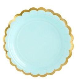 Πιάτα πάρτυ μικρά γαλάζιο μέντας με χρυσό (6 τεμ)