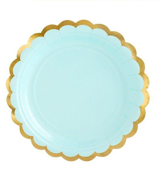 Πιάτα πάρτυ μικρά γαλάζιο με χρυσό