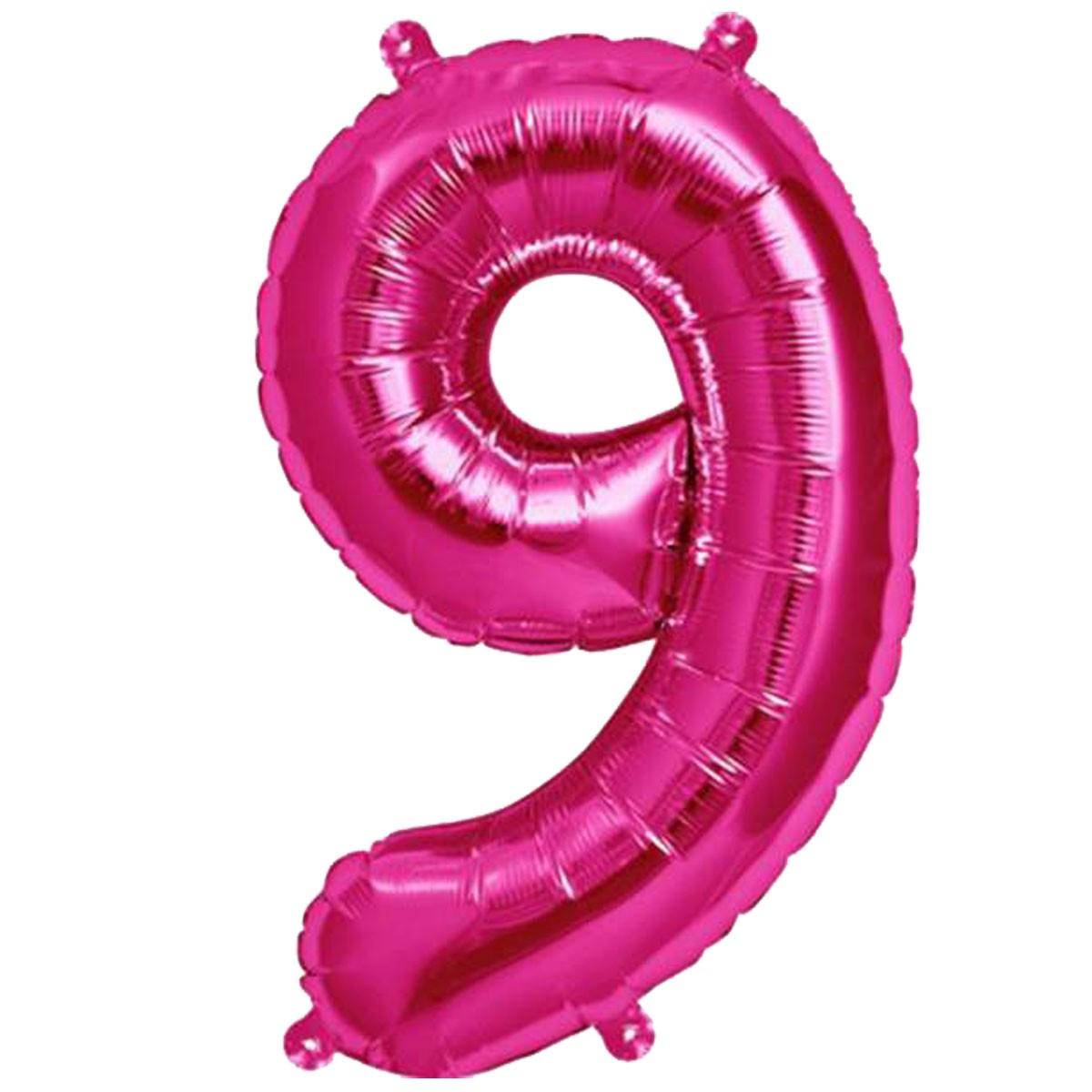 Τεράστιο Μπαλόνι 100 εκ Φούξια Αριθμός 9