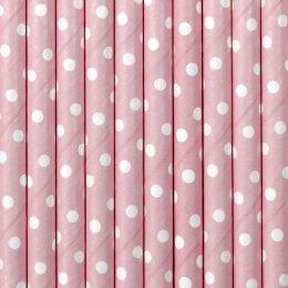 Καλαμάκια χάρτινα ροζ πουά (10 τεμ)
